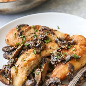 Grilled Gammon With Garlic & Mushroom Sauce